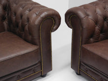Afbeelding in Gallery-weergave laden, Chesterfield bankstel ARSENAL JOHN 3-2-1 zits vintage leder Brown