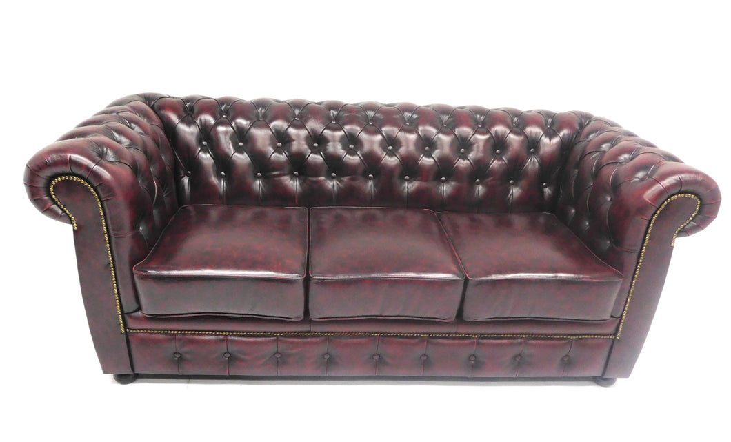 Chesterfield bank Liverpool - 3 zits - antiek wash/off leder New Red (bordo rood/bruin)