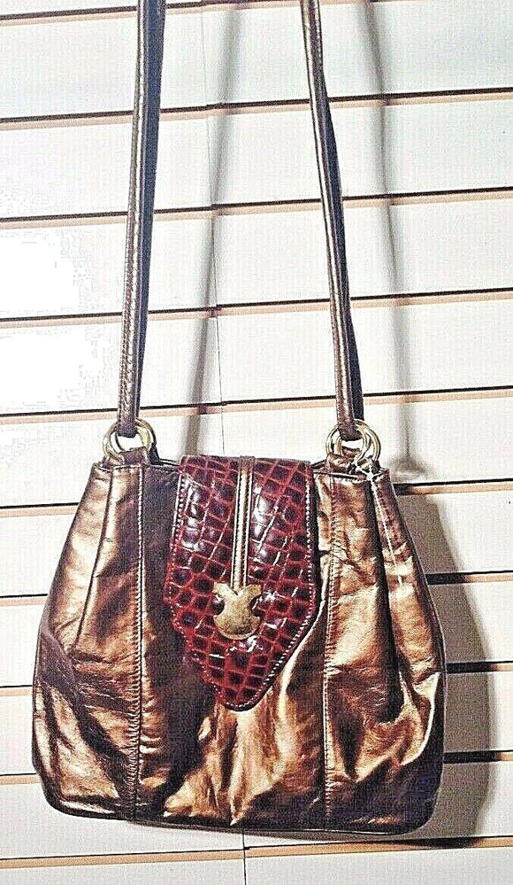 Women's Bronze Colored Medium Purse w/Faux Alligator Flap (P118)