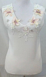 Women's White Floral Embellished Top Size L by Sweaterworks (03433)