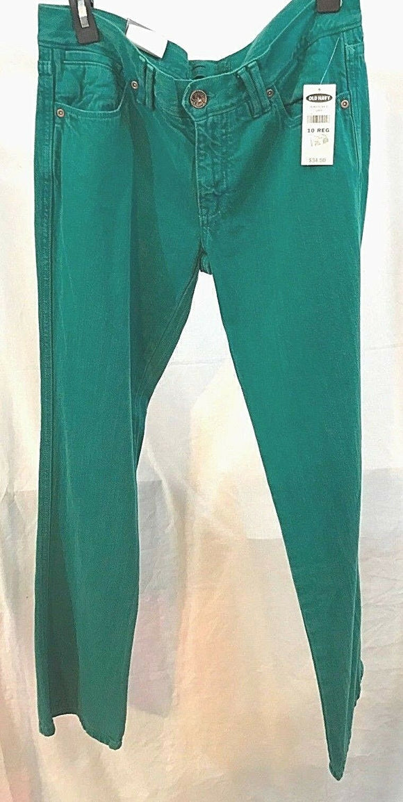 Women's New Green Jeans Size 10 Reg by Old Navy (03494)