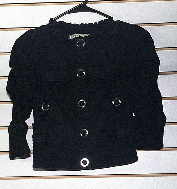 Women's Black Large Snap Jacket by Jolo (00680)
