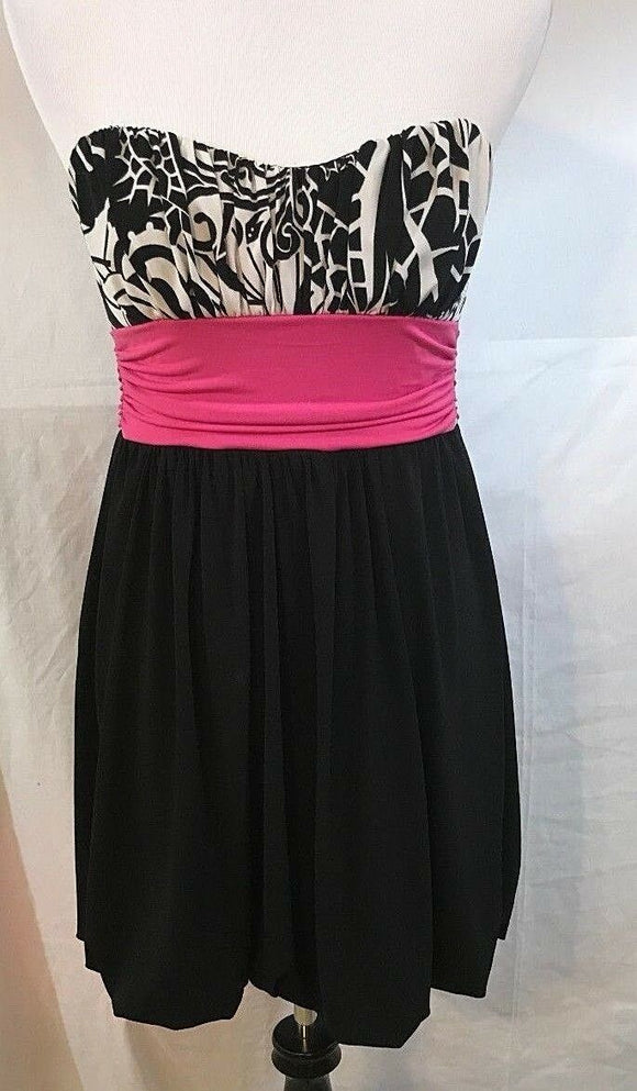 Women's Black, White & Hot Pink Strapless Dress Size M by Speechless (03159)
