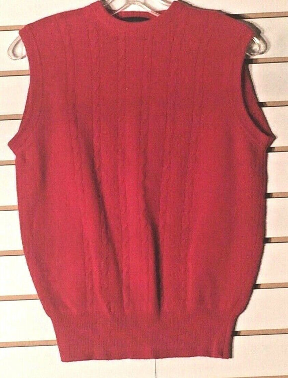 Women's Red Lambswool Sleeveless Knitted Top by D. Buford Ltd. (01568)