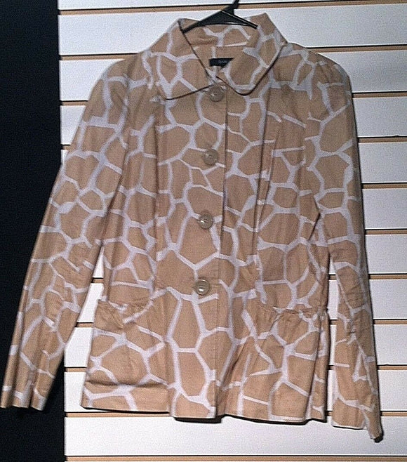 Women's Tan & White Animal Print Blazer Size S by Darjoni Casual (00350)