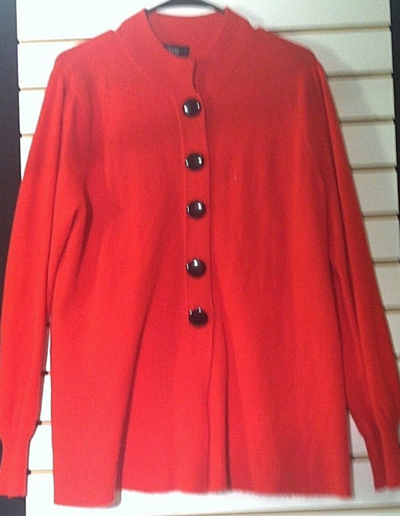 Women's Longer Red Sweater Size XL by Henry New York (00869)