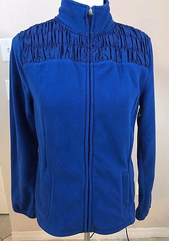 Women's Royal Blue Fleece Jacket Size M by Liz Claiborne (02927)