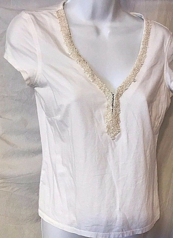 Women's White Beaded Embellished V-Neck Top Size S by Emma James (02845)