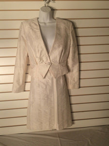 Women's 2 Cream Damask Skirt Suit (01585)