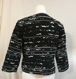 Women's Black & White Beaded Textured Blazer Size 0 by Chico's (03326)