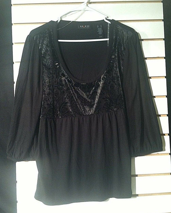 Women's Black Knit Long Sleeve Top Size XL by Axcess (00978)