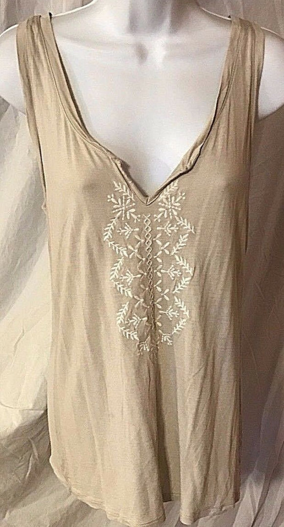 Women's Tan Embroidered Tank Top Size M by Old Navy (02529)