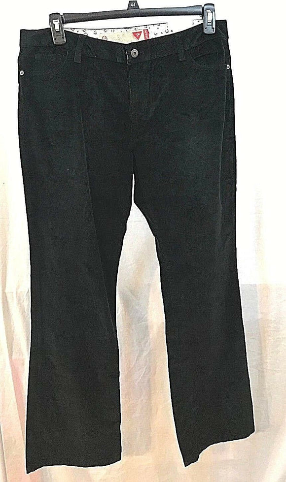 Women's New Black Corduroy Stretch Pants Size 14-16 (34) by Guess (03493)
