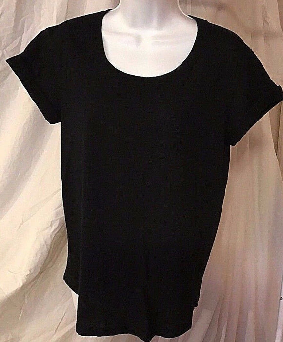 Women's Black Scoop Neck Top Size M by Ana (02531)