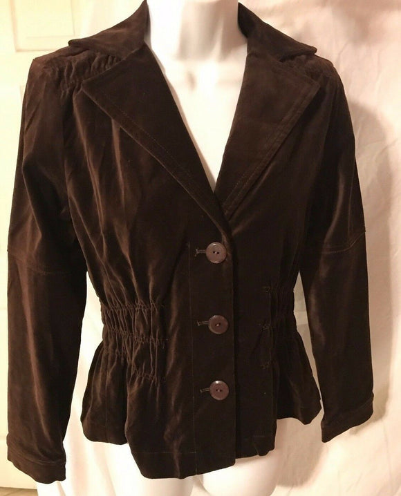 Women's Brown Velour Blazer Size XXS by Joan Rivers (02878)