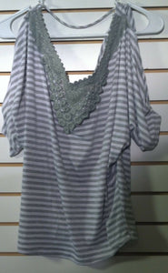 Women's Gray Striped Top Size S by MCM (00467)