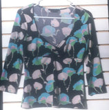 Women's Black Multi-Color Top Size M by BCBG MAX AZRIA (01178)