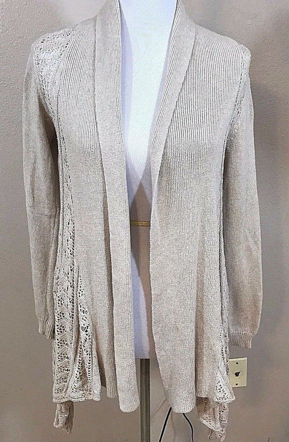 Women's Tan Crocheted Asymmetrical Sweater Size M by Cynthia Rowley (02997)