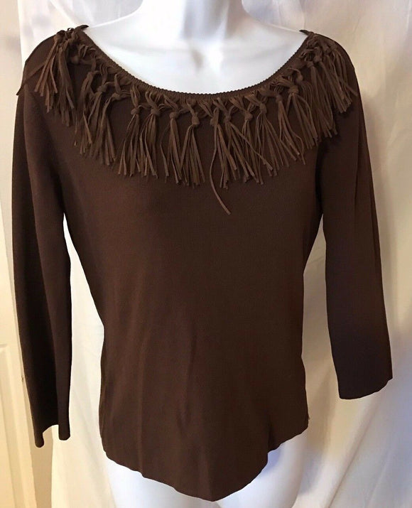 Women's Brown Fringe Neck Top Size M by J.A.C. (02675)