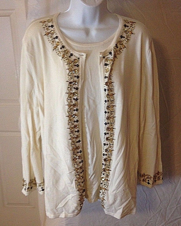 Women's Beige Embellished Sweater & Attached Top Size L by Samantha Grey (02395)