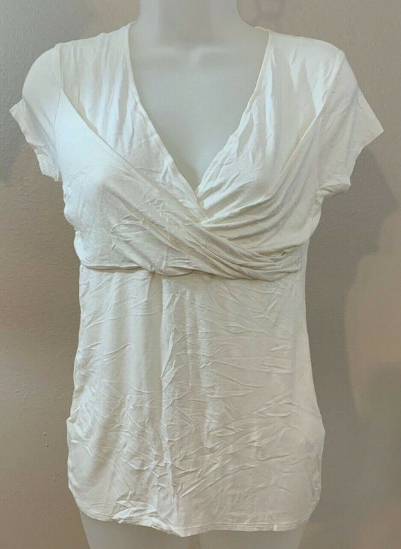 Women's Ivory Criss-Cross Empire Waist Top Size S by Tahari  (04448)