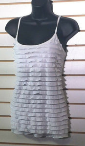 Women's White Ruffled Top Size L by Energie (00476)