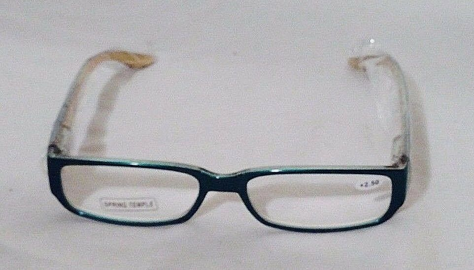 Women's Green Reading Glasses +2.50 by Spring Temple w/Striped Pouch  (HB102)