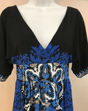 Women's Black & Blue Paisley Dress Size 2 by London Times (03970)