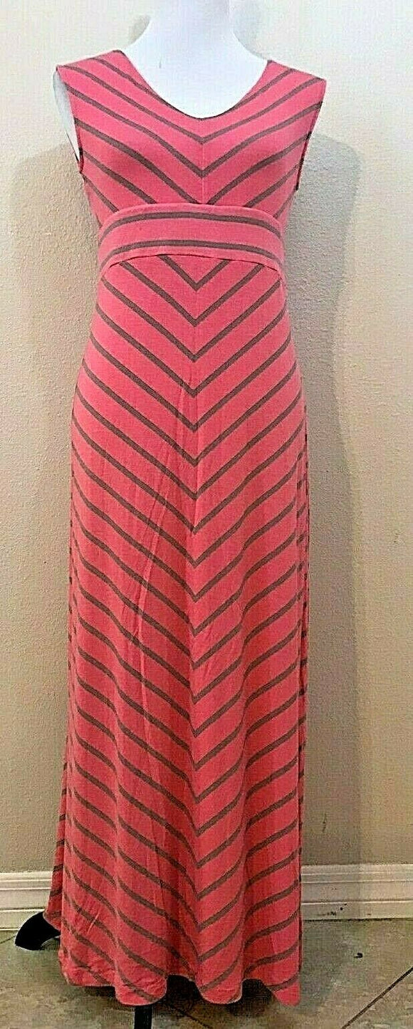Women's Pink & Gray Striped Long Dress Size M by Apt. 9 (04193)