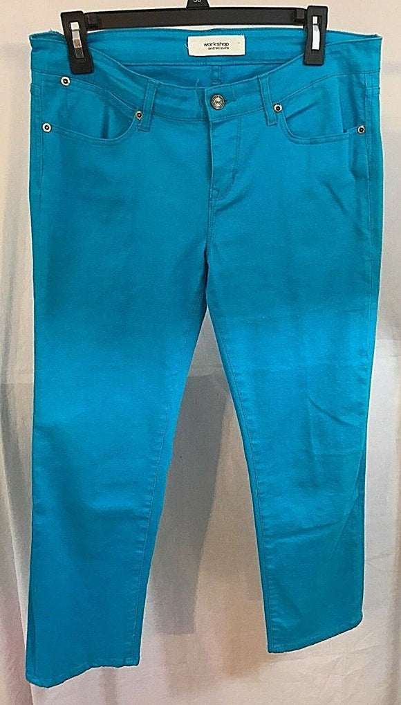 Women's Turquoise Jeans Size 8 by Workshop Andrea Jovine (03222)