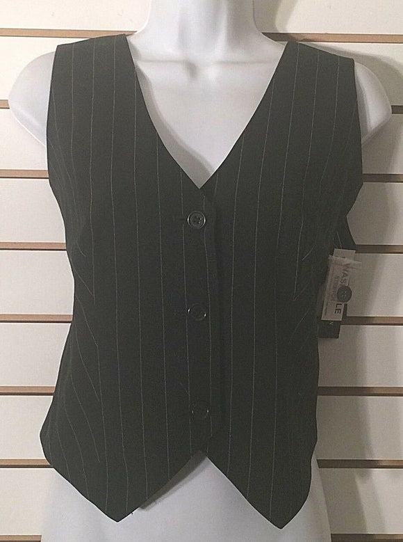 Women's New Black Striped Vest Size 8 by Lifestyle Attitude by Larry Levine (01928)