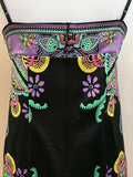 Women's Black Multicolor Spaghetti Strapped Floral Dress Size 6 by ICE (04236)