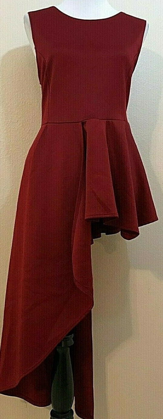 Women's Wine Colored Hi-Low Long Dress Size M by Blush (04166)