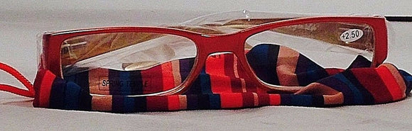 Women's Orange Reading Glasses +2.50 by Spring Temple w/Striped Pouch  (HB100)