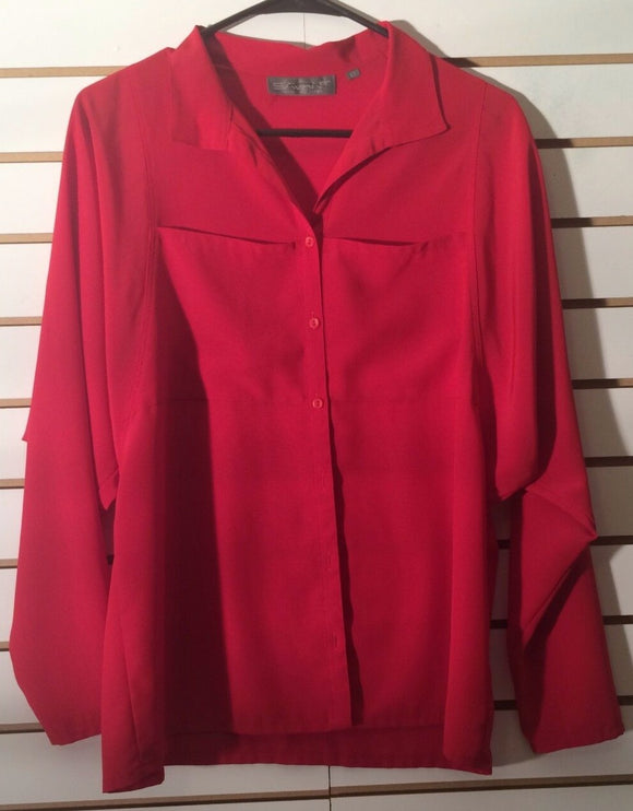 Women's Red Button Down Blouse Size 12 by Savant (01712)