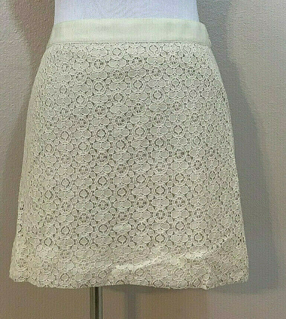 Women's Cream Lace Short Skirt Size 2 by J. CREW  (04368)
