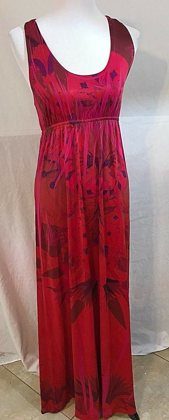 Women's Hot Pink Multi-Color Long Dress by Celle (03252)
