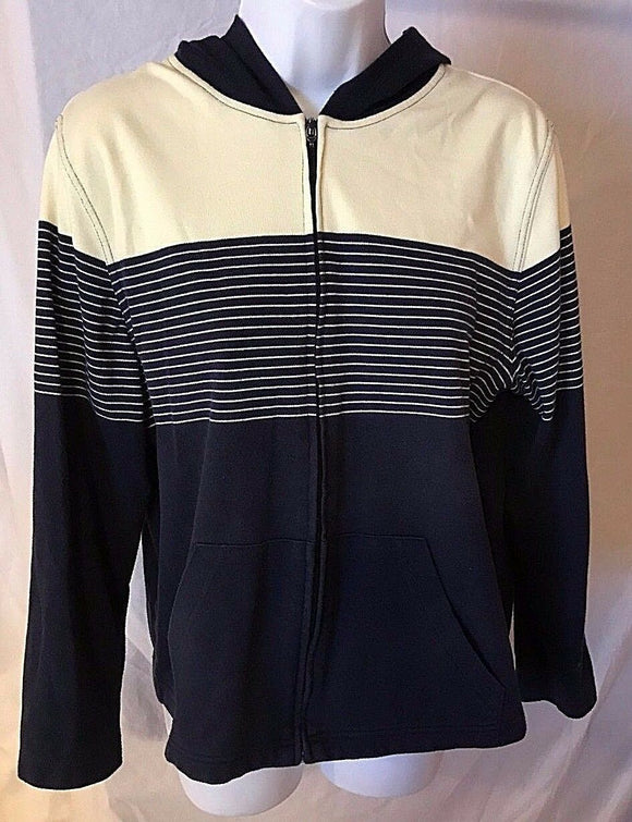 Women's Blue & Cream Hooded Striped Sweatshirt by Dressbarn (02602)
