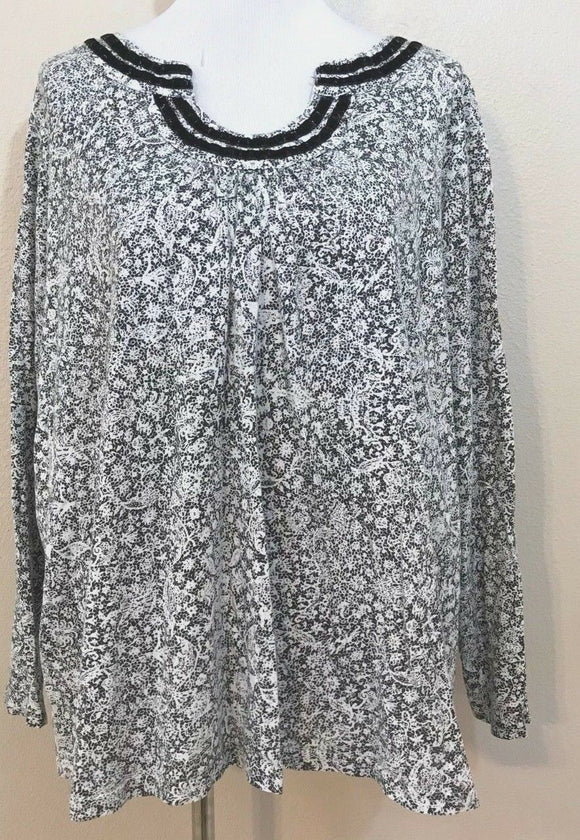 Women's Plus Size Black & White Floral Top Size 3X by Basic Edition Women (03954)