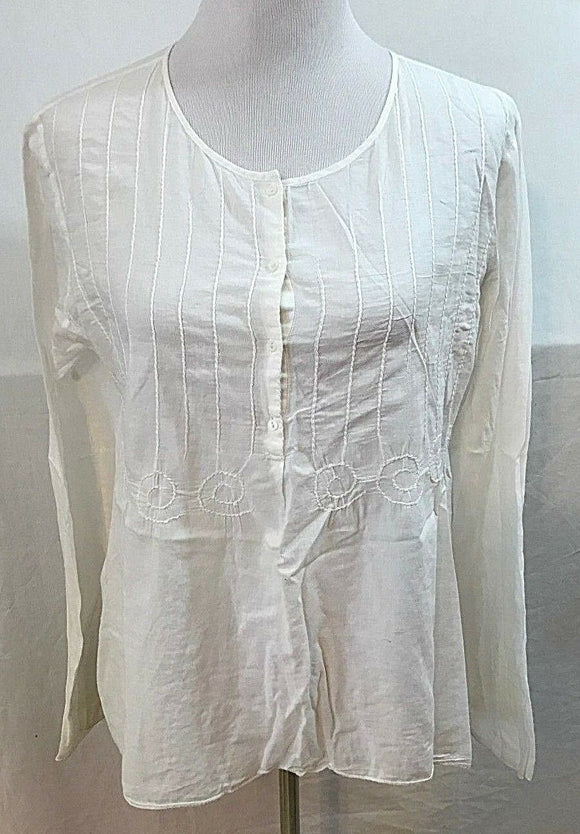 Women's White Sheer Peasant Top Size L by Max Studio (03531)