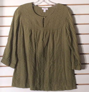 Women's Pea Green Eyelet Cotton Top Size 10 by Charter Club (01974)