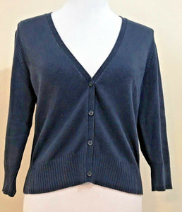 Women's Navy Blue V-Neck Button Down Cardigan Size M by Tommy Hilfiger (04056)