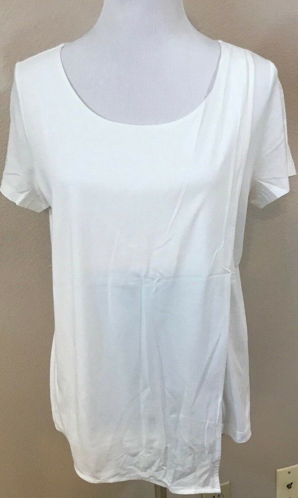 Women's Petite White Rounded Neck Double Layer Top Size LP (03703)