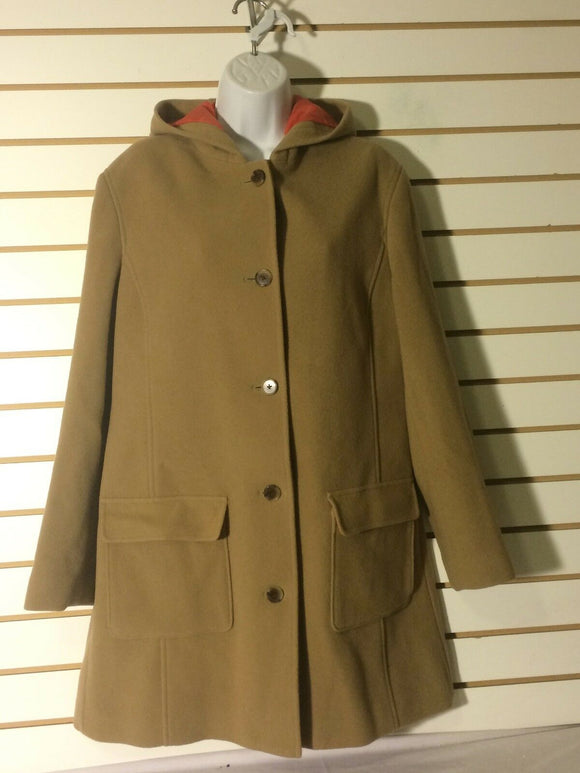 Women's Tan Wool Hooded Coat Size M (10-12) by Land's End (01394)