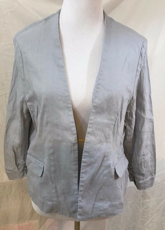 Women's Light Gray Linen Blend Blazer S 14 by Alfani (03094)