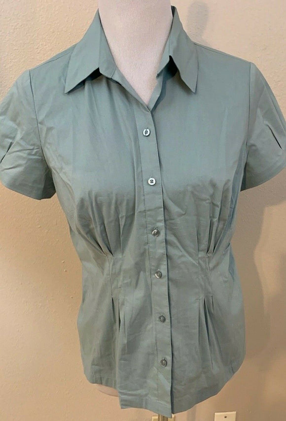 Women's Petite Mint Green Button Down Shirt Size LP by Ann Taylor LOFT (04421)