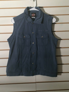 Women's Blue Sleeveless Harley Of River Falls Wisconsin Light Jacket (01708)