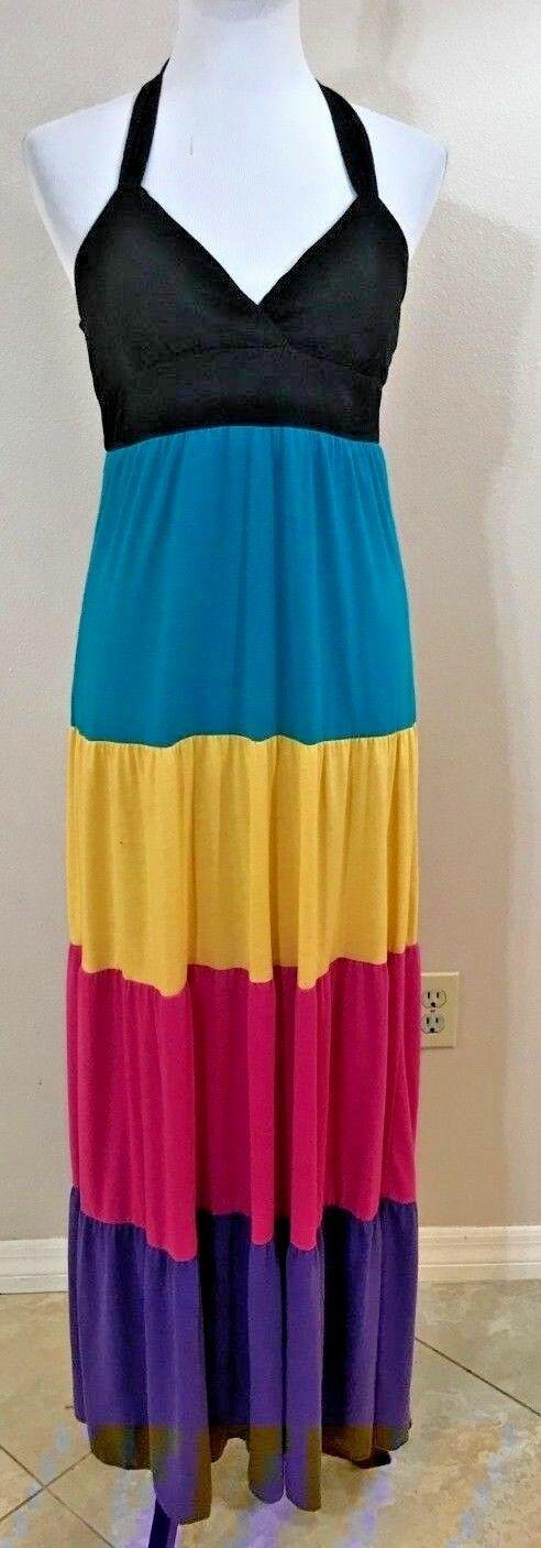 Women's Multi-Color Halter Long Dress Size S by JFW Just For Wraps (04080)
