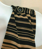 Women's Tan & Black V-Neck Criss-Cross Top Striped Dress Size S by Lush (04317)