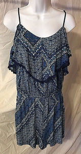 Women's Blue Geometric Layered Top Romper Size M by Jessica Simpson (02502)